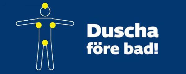 """Illustration över badregler med texten """"Duscha före bad"""""""